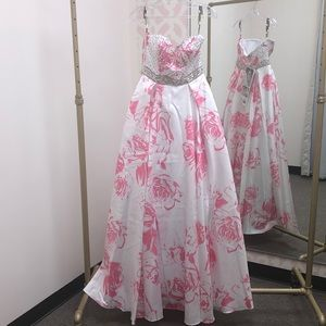 Floral Printed Prom Gown. Abby Paige #P3870
